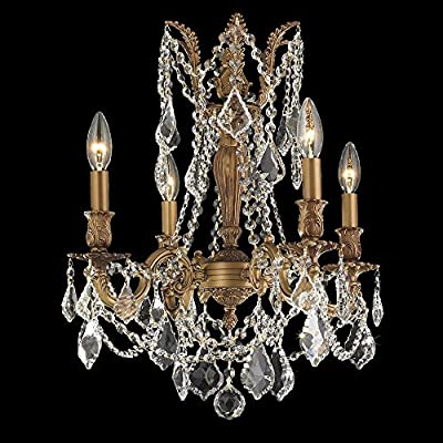 "Worldwide Lighting W83303FG17-CL Windsor Collection 4 Light French Gold Finish & Clear Crystal Chandelier 17"" D x 21"" H Medium Traditional Windsor Collection 4 Light Clear Crystal Chandelier, 17"" D x 21"" H Medium"