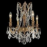 Worldwide Lighting Windsor Collection 4 Light French Gold Finish and Clear Crystal Chandelier 17'' D x 21'' H Medium