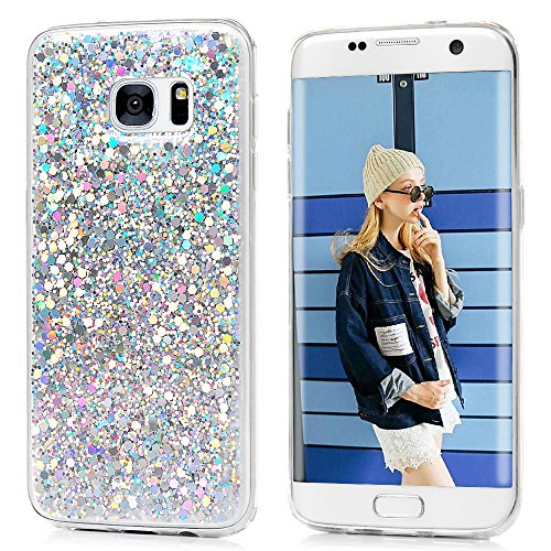 YOKIRIN Galaxy S7 Edge Bling Case,Luxury Sparkle Shinning Protective Bumper 3D Bling Diamond Glitter Paillette Flexible Soft Rubber Gel TPU Protective Slim Fit Cover for Samsung Galaxy S7 Edge,Silvery