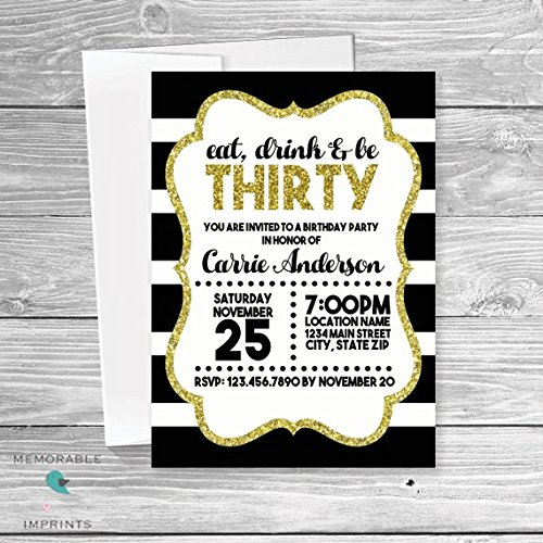 Amazon Gold Black And White Birthday Invitation
