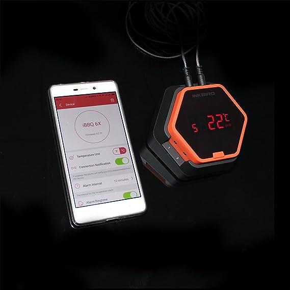 Inkbird IBT-6X Digital Bluetooth Barbacoa Termometro Inalambrico con Sonda, Parrilla Barbacoa Portatil Horno Termometro Cocina Carne Medidor Temperatura ...