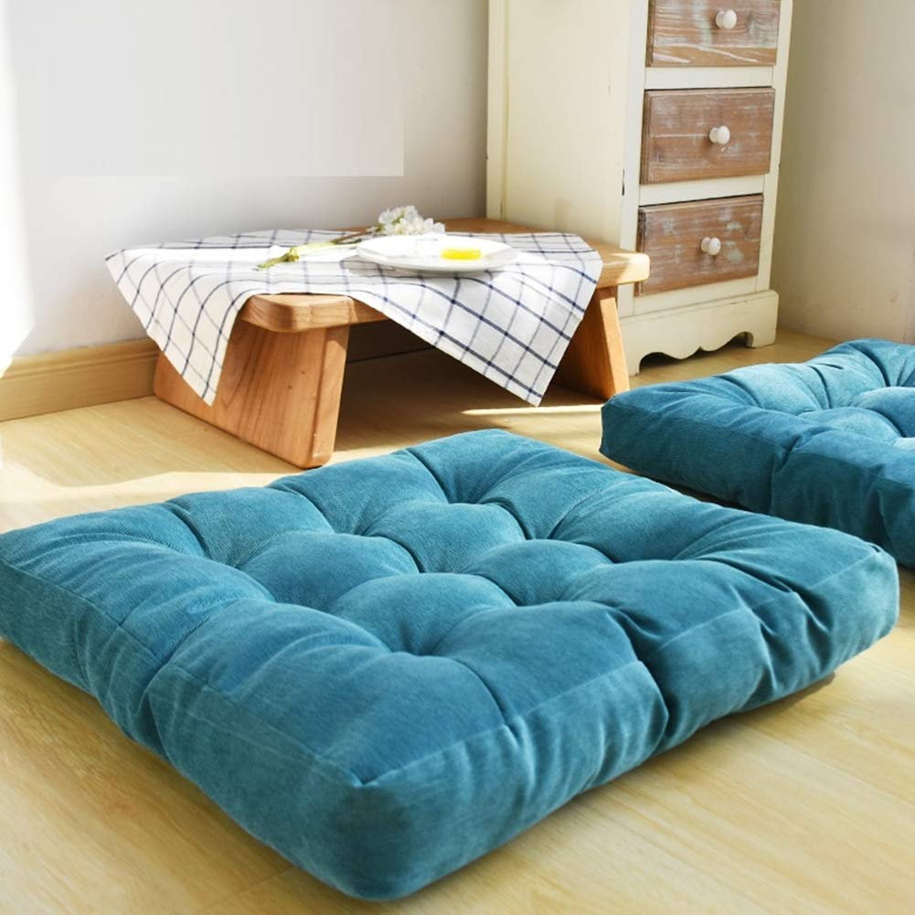 HIGOGOGO Thicken Tufted Cushion, Solid Square Seat Cushion Corduroy Chair Pad Pillow Seat Soft Tatami Floor Cushion for Yoga Meditation Living Room Balcony Office Outdoor, Turquoise, 22x22 Inch