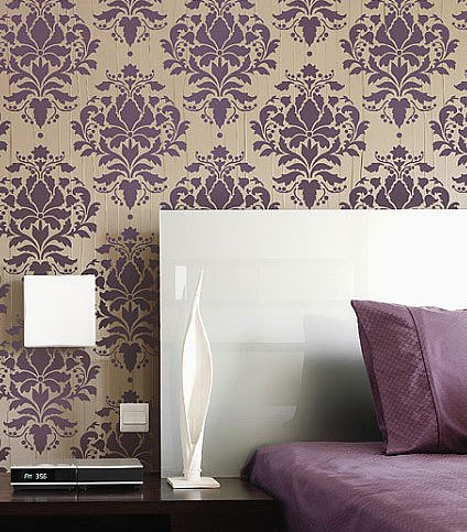Berries Wallpaper (Damask Stencil Wild Berry - Reusable stencils just like wallpaper -DIY decor)