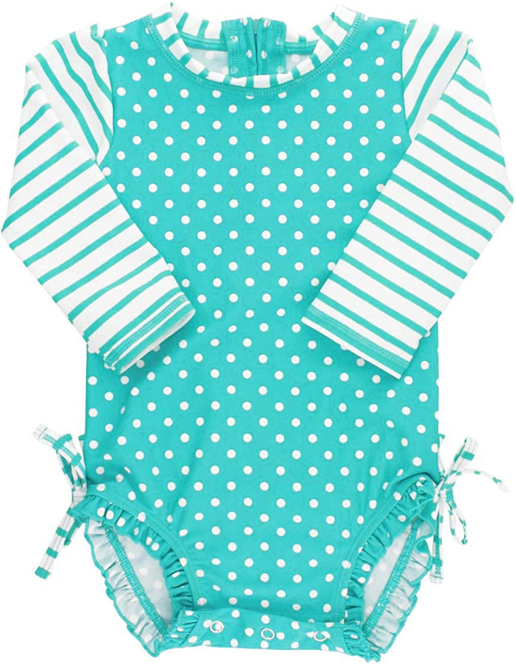 Sun Protection Polka Dot Bikini with UPF 50 RuffleButts Girls Rash Guard Short Sleeve 2-Piece Swimsuit Set