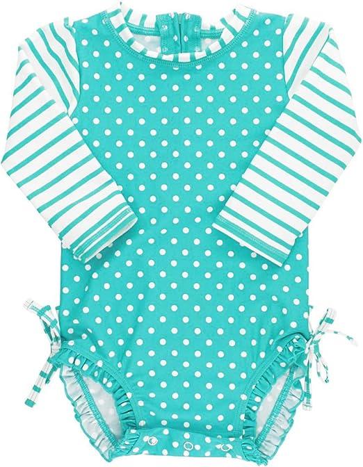 RuffleButts Girls Periwinkle Seersucker Long Sleeve Rash Guard Bikini 3T