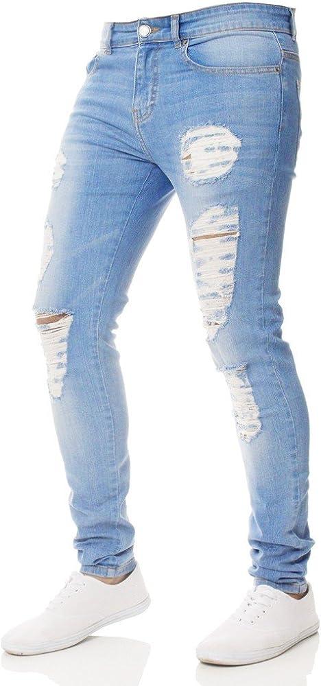 Ginli Pantaloni Jeans da Uomo Jeans da Uomo Skinny Strappati Elasticizzati da Uomo Pantaloni Denim denudati Slim Fit con Zip