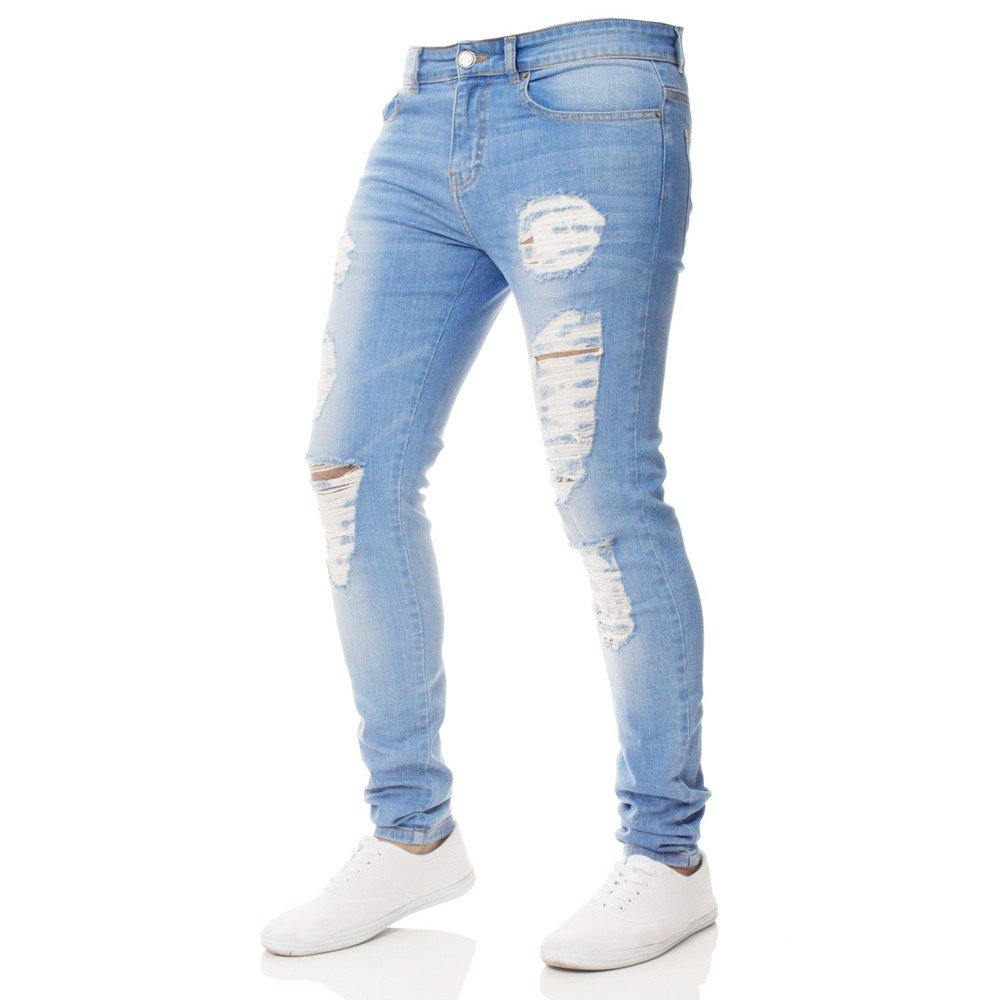 Men Slim Biker Zipper Denim Jeans Skinny Frayed Pants Distressed Rip Trousers