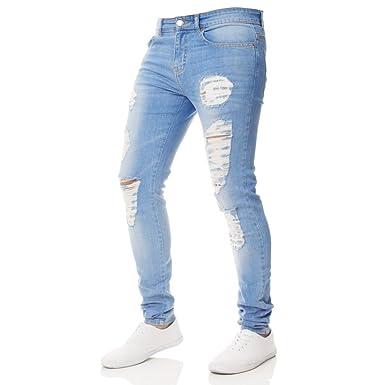 2fddd52405f Men Slim Fit Ripped Destroyed Jeans Teen Boys Vintage Stylish Washed  Stretch Skinny Biker Denim Pencil