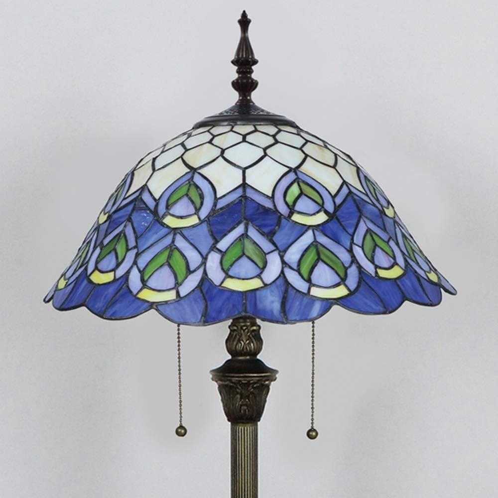 Tokira Tiffany Stehleuchte Pfauenblau 64 Zoll Glasmalerei