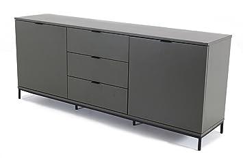 Credenza Bassa Con Cassetti : Credenza bassa laccato grigio 2 porte e 3 cassetti interio