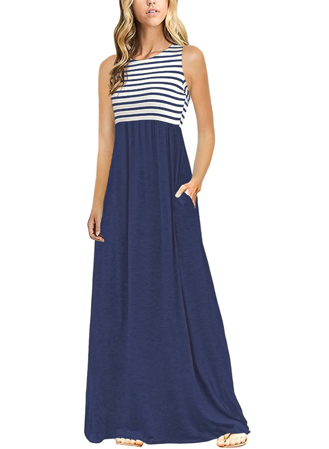 Happy Sailed Women Striped Print Round Neck Sleeveless Patchwork Long Maxi Casual Dress with Pockets X-Large Blue