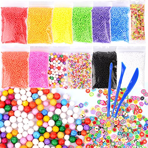 Assorted Mini Fruit Slices (Z-Liant 17 Pack Slime Making Kits : Include 15 Pack Colorful Foam balls, 1 Pack Fruit Slice and 3 Pack Slime Tools, Good DIY Art Craft for Kids Slime and Party Decoration)