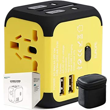 40000KM Universal Travel Adapter Dual USB Port,All in One Worldwide International Power Plug Adapters with Surge Protection for USA Europe UK AUS-Yellow