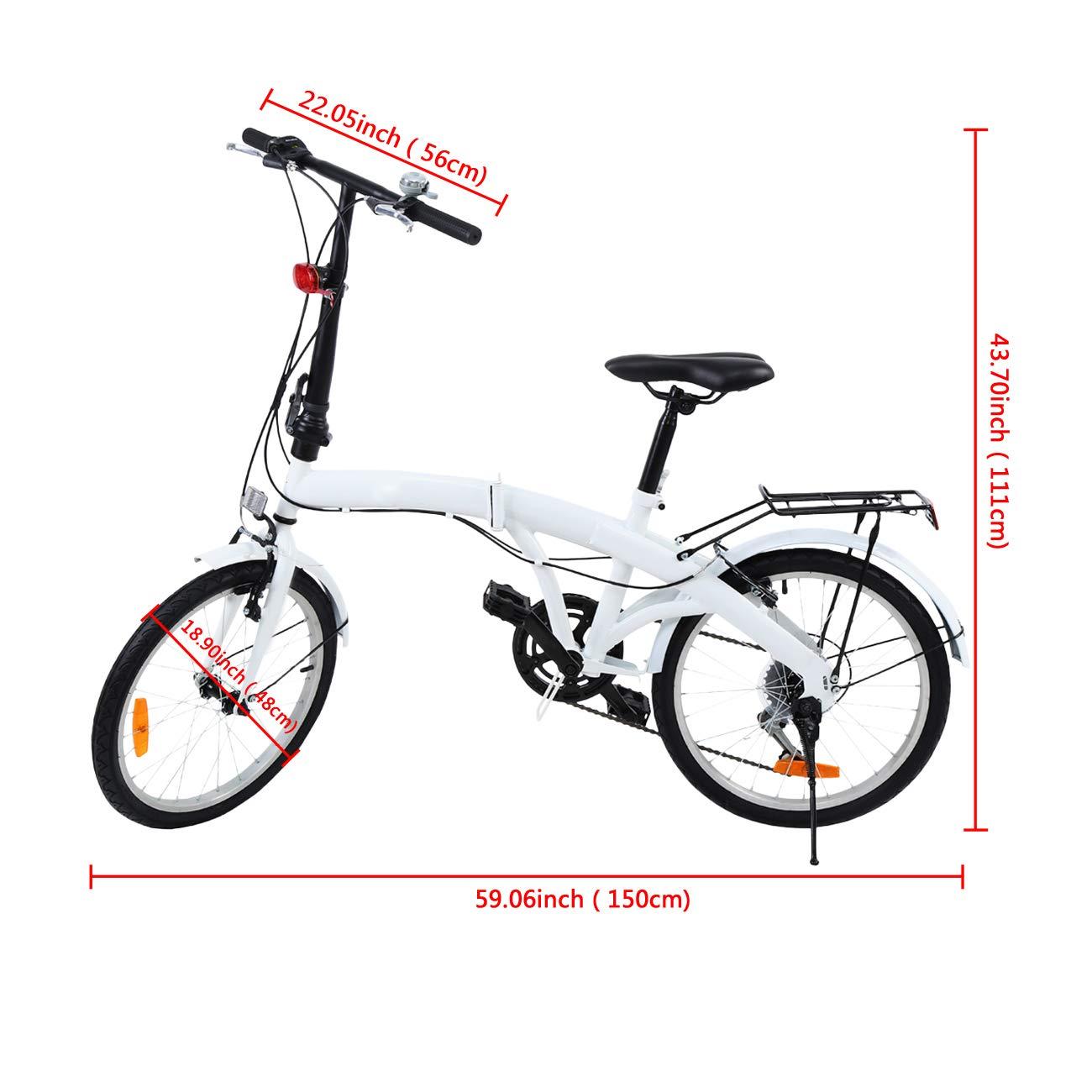 Ridgeyard 20 Pulgadas Bicicleta Plegables Plegable de 6 velocidades con Soporte Trasero LED Battery Light (Blanco): Amazon.es: Deportes y aire libre