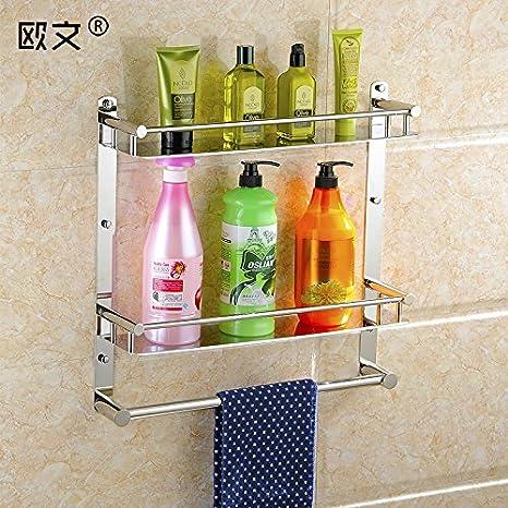 Acero inoxidable 304 toallas de baño WC estanterías estanterías doblar una toalla de baño estante colgar de hardware: Amazon.es: Hogar