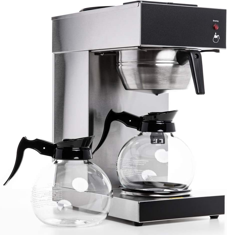 SYBO Commercial Grade Pourover Coffee Brewer Commercial Coffee Maker Machine with Kettle Warmer and 2 Glass Decanters, 12-Cup Capacity