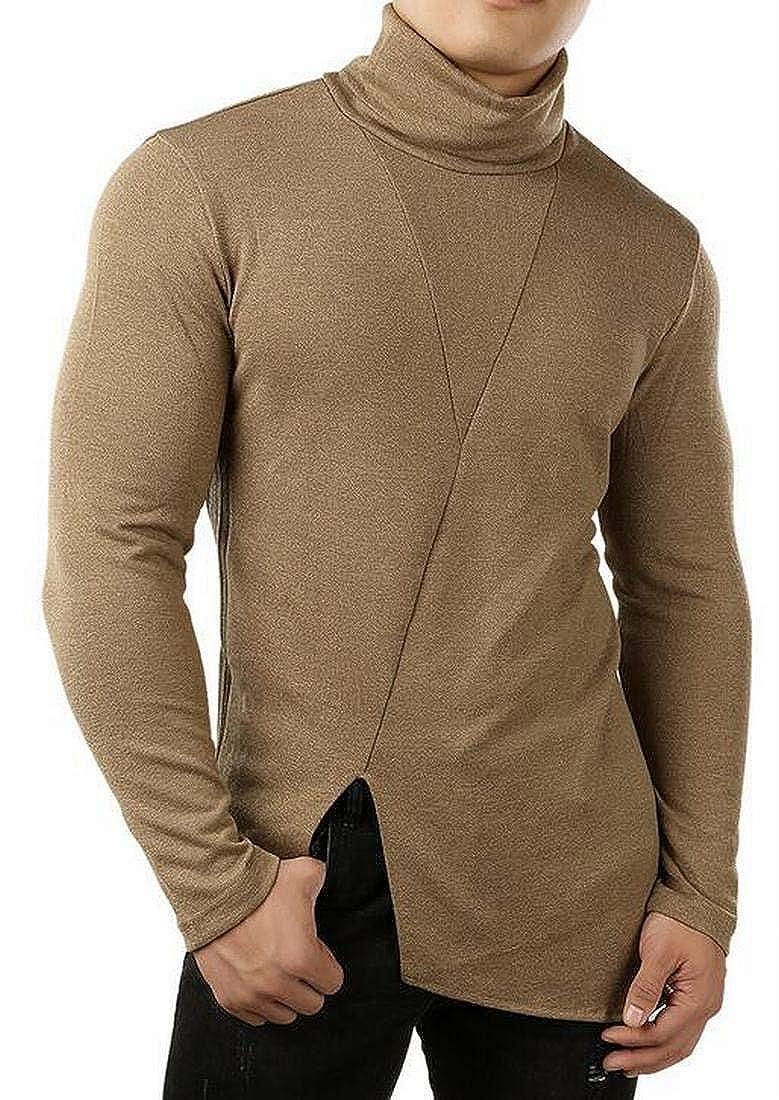 Jofemuho Mens Knitted Turtleneck Solid Color Split Slim Pullover Sweater Jumper