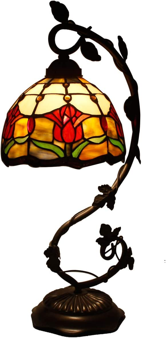Tiffany Lamp Tulip Flower Stained Glass and Baroque Style Table Lamps Wide 8 Inch Height 21 Inch for Living Room Antique Desk Beside Bedroom S030 WERFACTORY
