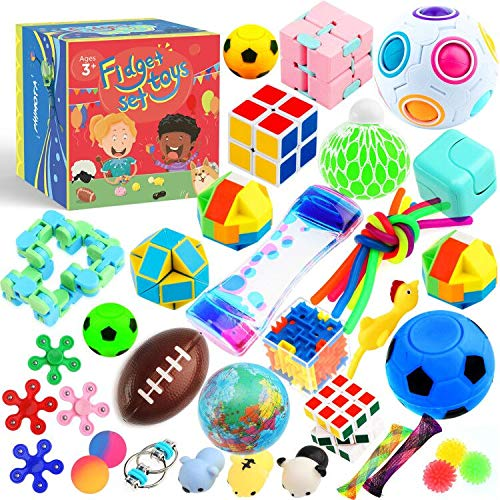 Sensory Toys Set 38 Pack, Stress Relief Fidget Hand Toys for Adults and Kids, Sensory Fidget and Squeeze Widget for Relaxing Therapy - Perfect for ADHD Add Anxiety Autism