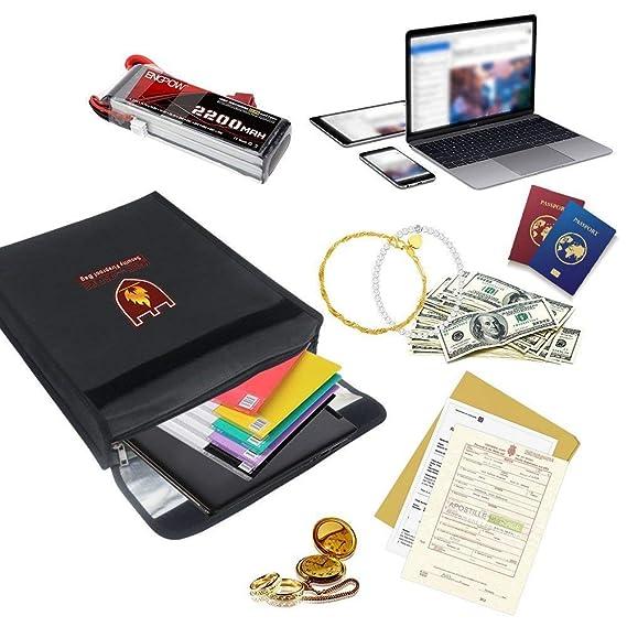 Jewelry Protect Your Valuables Passport Large Cash /& Envelope Holder Hook /& Loop Closure for Maximum Protection SanZhi Laptop 380280mm Documents Money Fireproof Money /& Document Bag