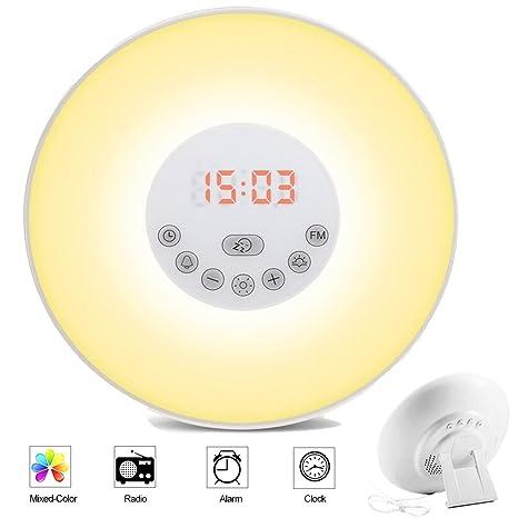 Lifebee Lámpara-despertador, 7 sonidos de alarma, función ...
