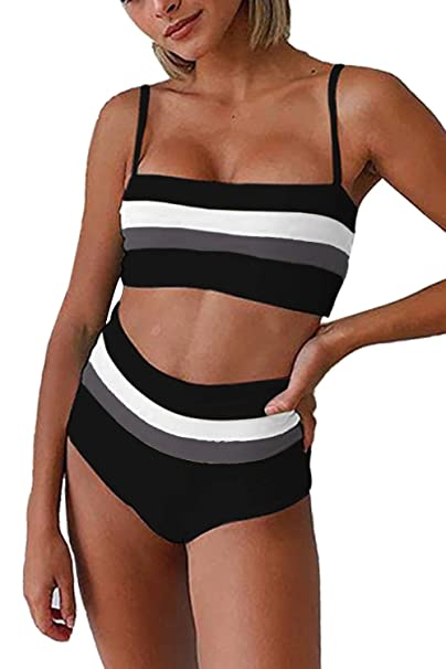 d5a2a0b376b Symptor Women's Contrast Color Beandeau High Waisted 2PCS Swimsuit Bikini  Set