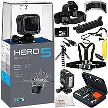 GoPro HERO5 Session 12PC Accessory Bundle – Includes Head & Chest Strap + 32GB MicroSD Memory Card + GoPro Premium Hard Case + MORE