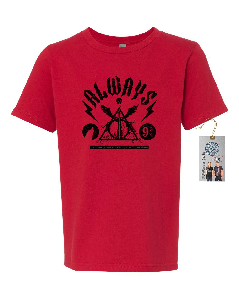 Harry Potter Always Saying with Symbols Youth Short Sleeve Shirt Red M