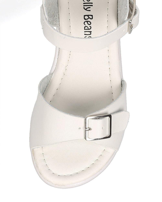 03fe90274cd0a Leatherette Buckle Lug Sole Chunky Heel City Sandal (Toddler/Little  Girl/Big Girl) CE85 - White Leatherette (Size: Little Kid 12)