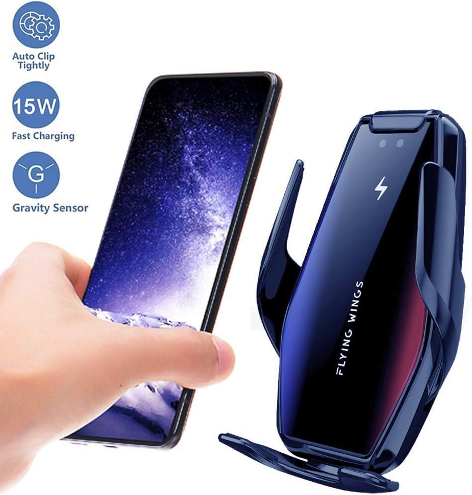 ZHJIUXING HO 2 en 1 Cargador Inalámbrico Coche,Soporte para teléfono,15W Qi Cargador Rápido Wireless Car Charger Rápida Carga Sensor Infrarrojo,inductivo Abrazadera automática