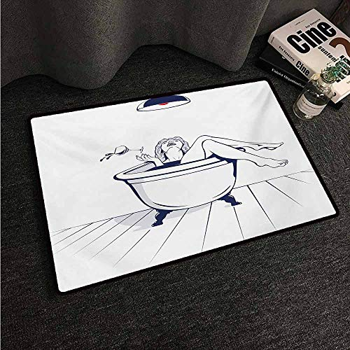 HCCJLCKS Non-Slip Door mat Wine Young Beautiful Woman Relaxing on The Bathroom with Glass of Wine Drawing Art Non-Slip Door mat pad Machine can be Washed W35 xL59 Dark Blue Red White