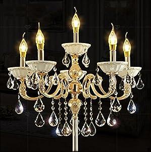 Zinc Alloy Heavy Base Crystal Floor Lamp Ground Lamp Light Chandelier Color Gold