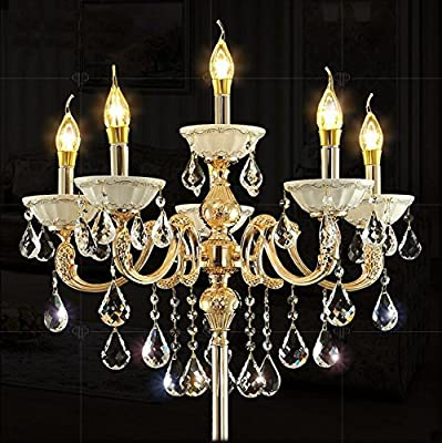 Zinc Alloy Heavy Base Crystal Floor Lamp Ground Lamp Light Chandelier Color Gold