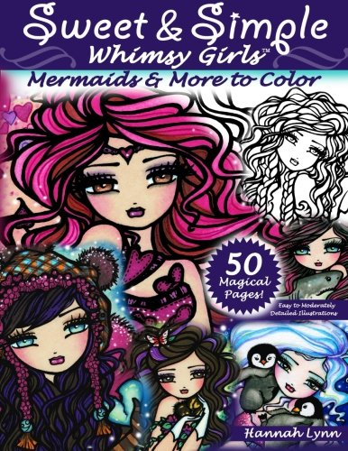 Sweet & Simple Whimsy Girls: Mermaids and More to Color