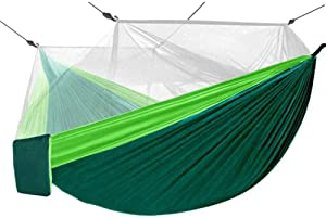 Bcway Camping Hammock, Double Lightweight Portable Nylon Parachute Hammocks with Mosquito Net, 2 Tree Ropes, Carabiners for Outdoor Backpacking Camping Hiking Travel Park Garden Backyard (Green)