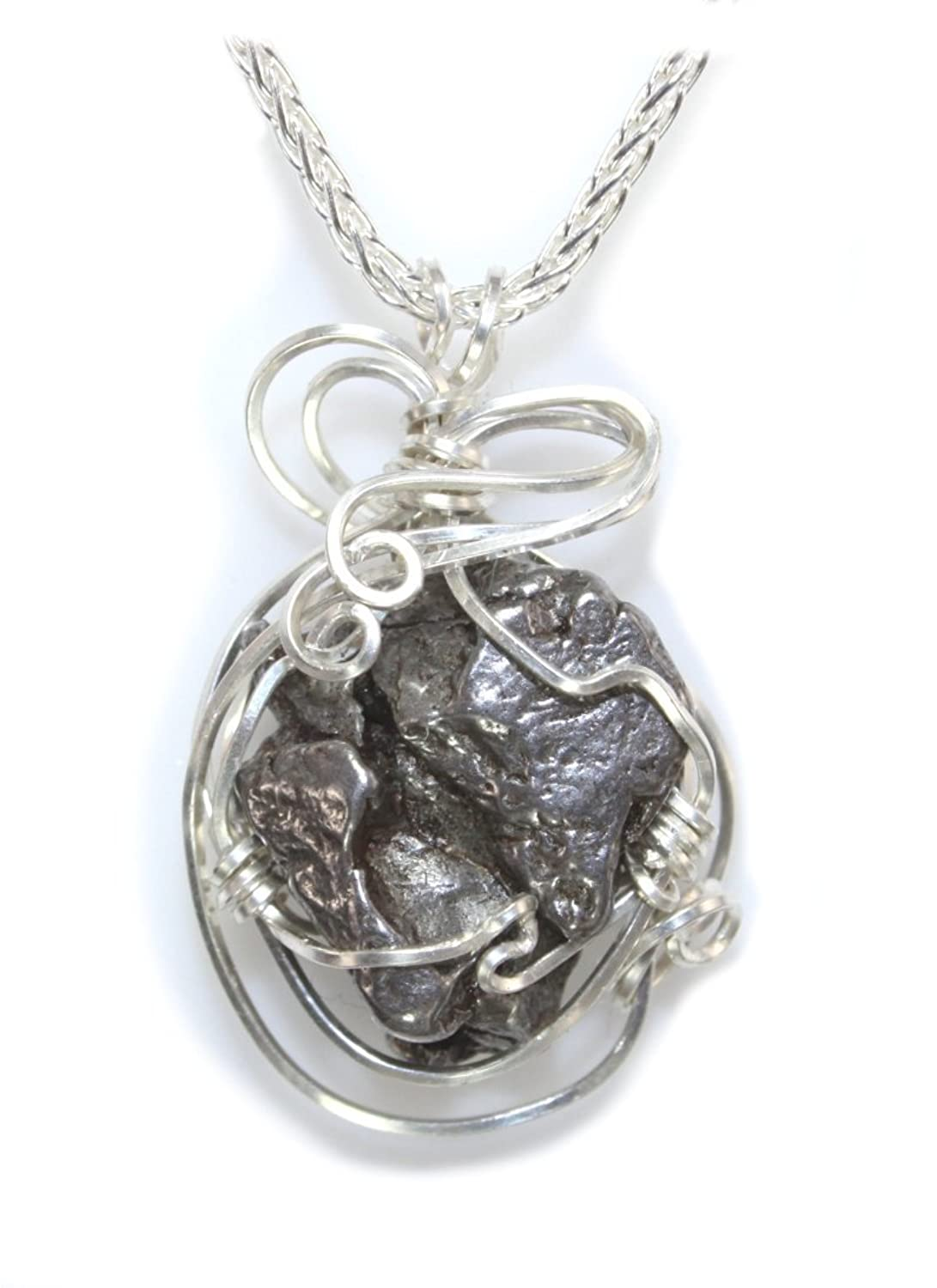 Quality Meteorite Jewelry Necklace Womens Pendant, Stainless Steel Wire Wrap by Kennedy Co Jewelry