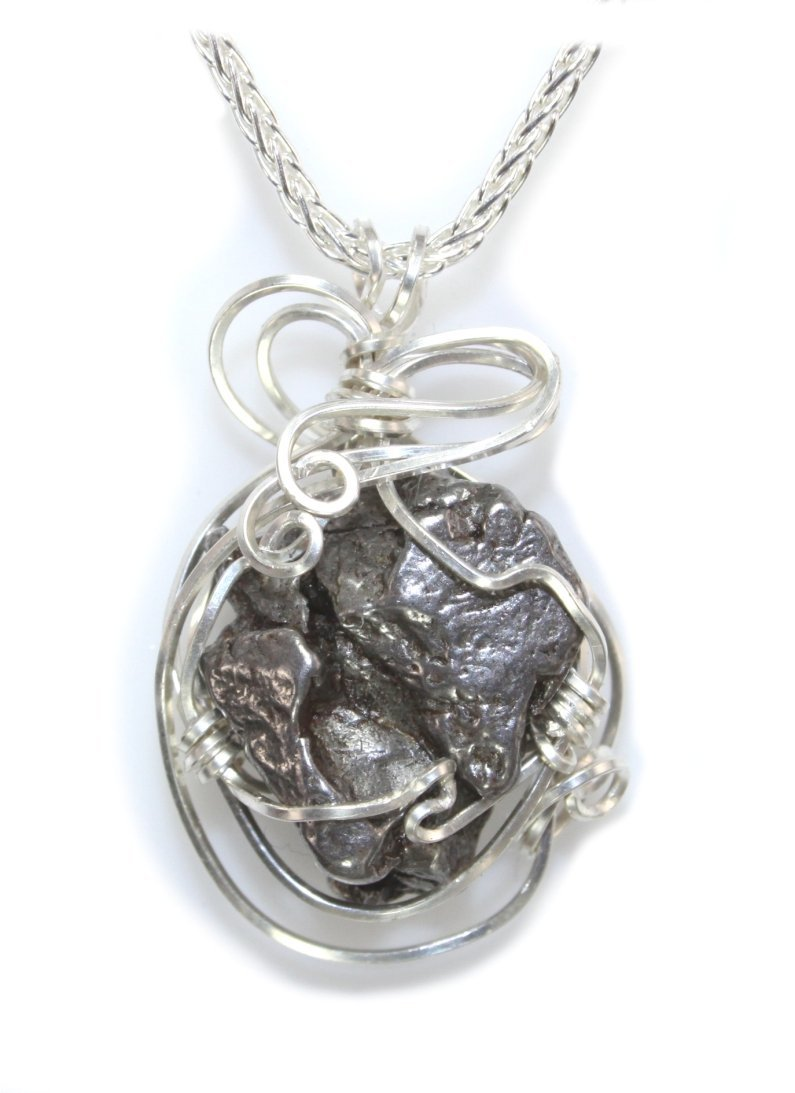 Quality Meteorite Jewelry Necklace Womens Pendant, Stainless Steel Wire Wrap