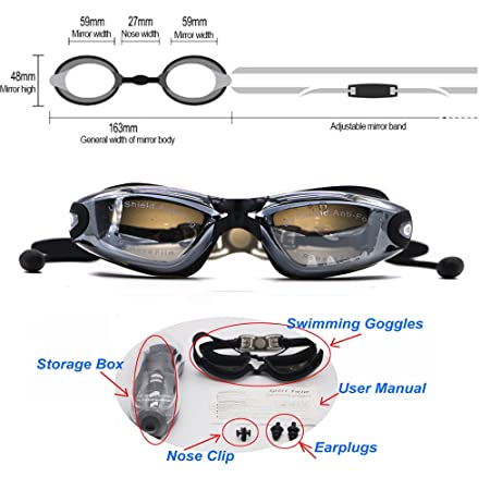 c623b62fbe3 Hersvin Nearsighted Swimming Goggles (0 to -800)