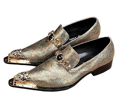 Zapatos de hombre Metal Toe Puntiagudo Crepitar Cuero occidental Mocasines Negocio Formal Club Vestir Amarillo Tamaño