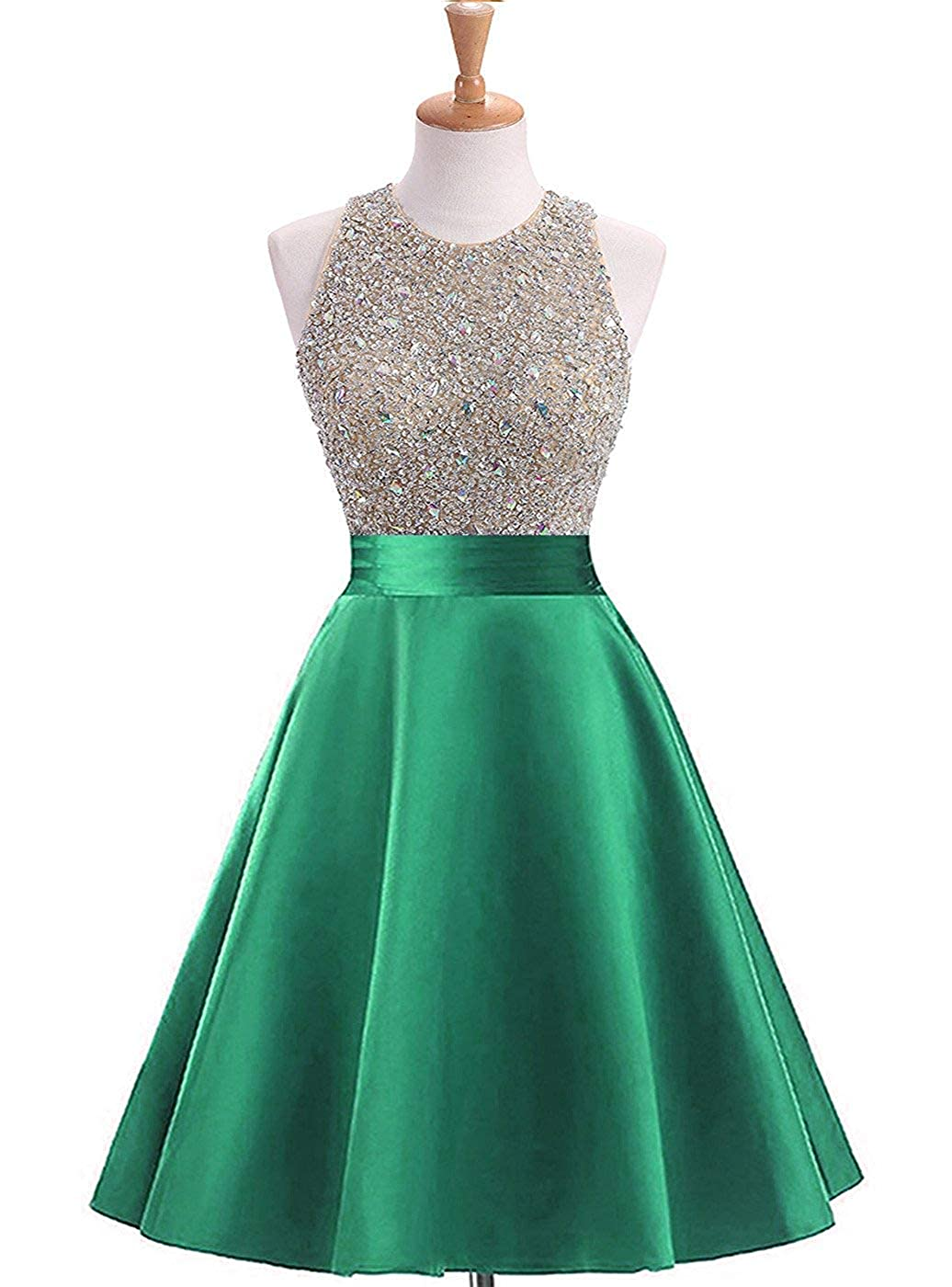 Greena Yuki Isabelle Women's Sequined Halter Cocktail Party Dress Satin Homecoming Dresses Short