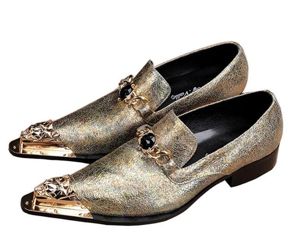 Zapatos de hombre Metálico Metal Puntiagudo Rock Crepitar Cuero occidental Moda Mocasines y Slip-On Negocio Formal Club Vestir Amarillo Tamaño 38 a 46 , EU42 -
