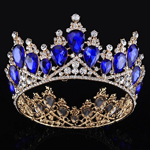 FUMUD Vintage Baroque Queen Crystal Bridal Crown Tiaras Light Gold Diadem Tiaras for Women Bride Wedding Hair Accessories -
