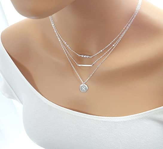 Amazoncom Personalized Layered Necklace Layering Necklaces In