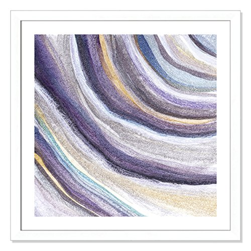 Casa Fine Arts Modern Agate Purple Tones Framed Wall Art, Matte White