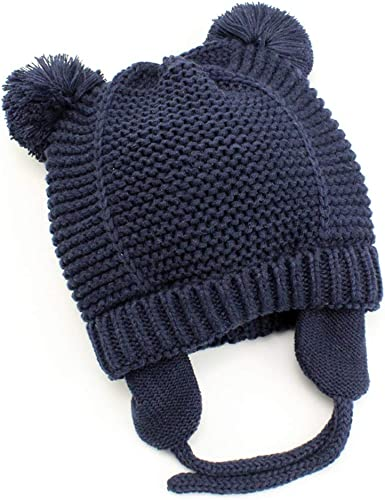 Toddler Baby Girl Winter Cotton Warm Earflap Hats Kids Knit Pom-Beanie Cute Caps