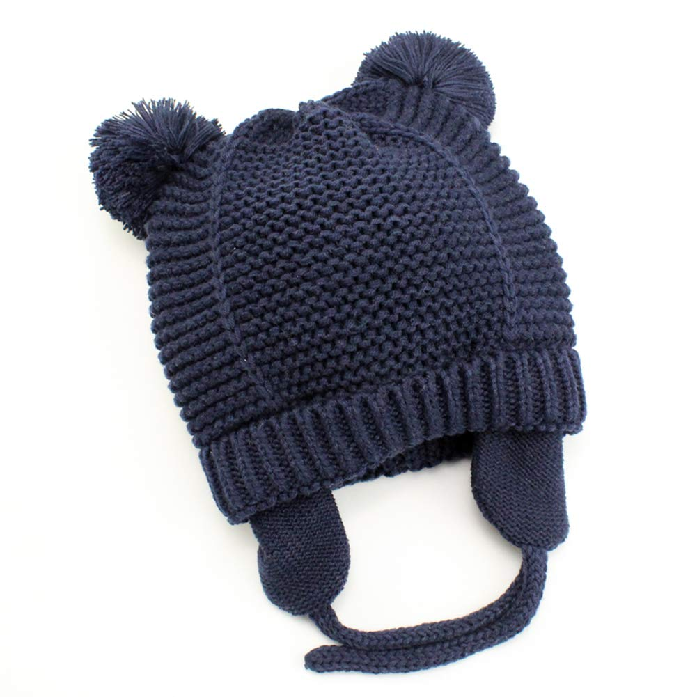Baby Beanie Earflaps Hat - Infant Toddler Girls Boys Soft Warm Knit Hat Kids Winter Hat with Fleece Lining (Dark Blue,S)