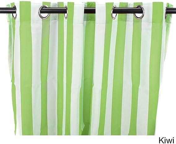1Pieza 84 Kiwi cortinas de color de carpa solo Panel, verde blanco patrón de rayas Rugby colores exterior, interior Pergola Drapes porche, deck, patio Protector de entrada Lanai Sunroom de rayas: Amazon.es: