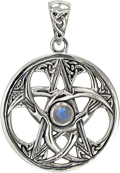 TRIPLE MOON PENTAGRAM Mother of Pearl Solid 925 Sterling Silver PENDANT NECKLACE