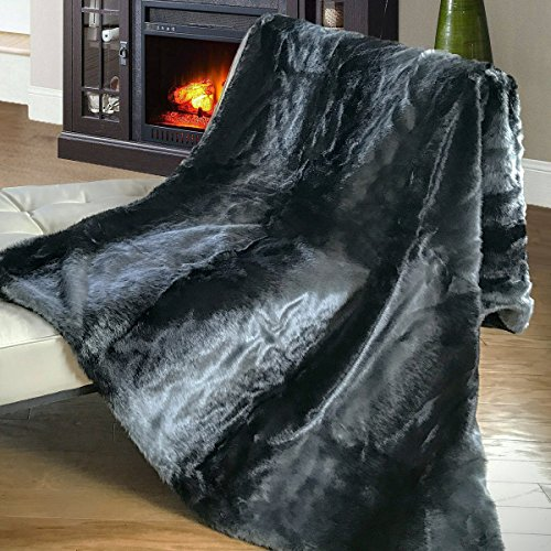 Mellanni All-Year-Round Faux Fur Throw, Will Not Shed! Super Soft, Comfy - Makes Luxurious Gift - Enhance Your Home Décor - Use for Travel - Chinchilla