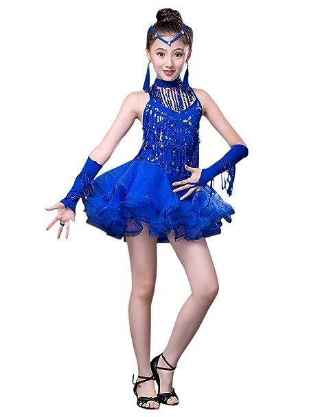 besbomig Moda Lustrino Nappa Vestito da Ballo Latino Salsa Tango Bambini  Dancewear - Ragazze Ballroom Festa 9517737e156